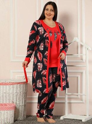 Red - Black -  - Morning Robe