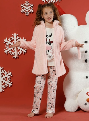Multi - Crew neck -  - Unlined - White - Salmon - Girls` Pyjamas