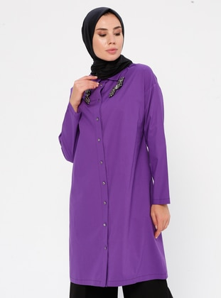 Purple - Point Collar -  - Tunic