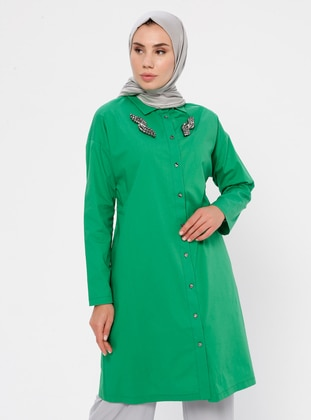 Green - Emerald - Point Collar -  - Tunic