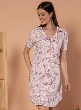 Multi - Floral - V neck Collar -  - Nightdress