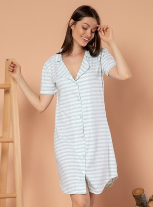 Multi - Stripe - V neck Collar -  - Nightdress