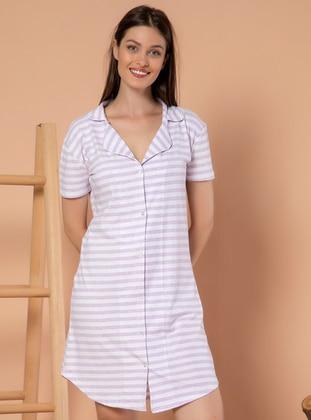 Multi - Stripe - V neck Collar -  - Nightdress