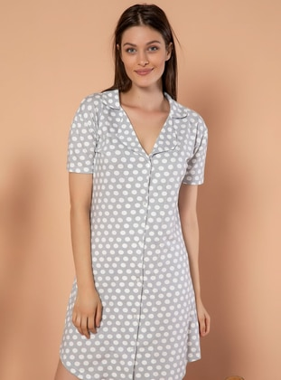 Multi - Polka Dot - V neck Collar -  - Nightdress