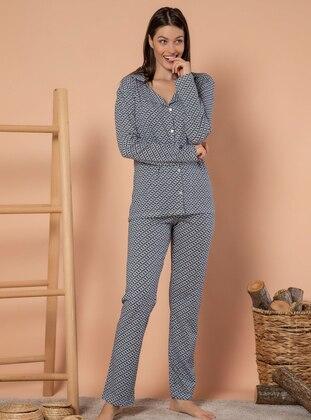 Multi - V neck Collar - Heart Print -  - Pyjama