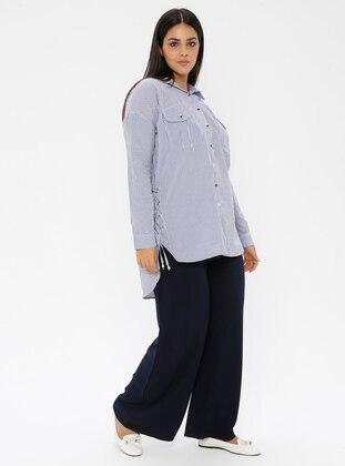 Navy Blue -  - Plus Size Pants