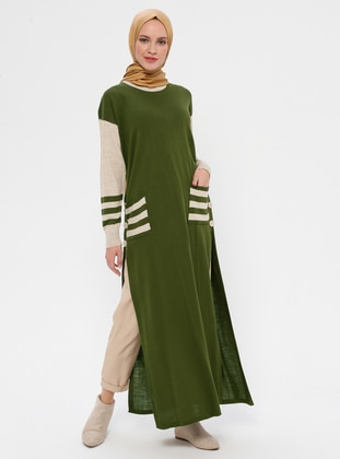 Khaki - Crew neck - Acrylic - Wool Blend - Knitwear