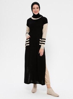 Black - Crew neck - Acrylic - Wool Blend - Knitwear
