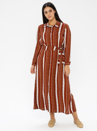 Brown - Stripe - Point Collar - Unlined -  - Dress