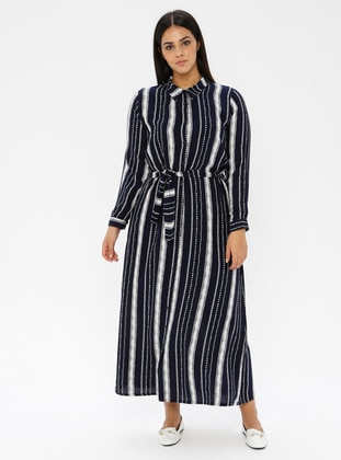 Navy Blue - Stripe - Point Collar - Unlined -  - Dress