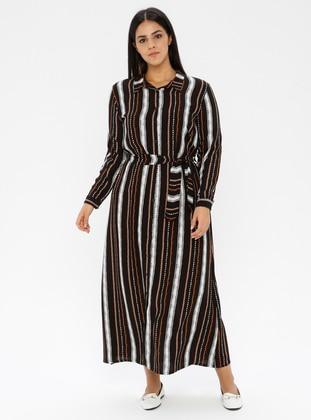 Black - Stripe - Point Collar - Unlined -  - Dress