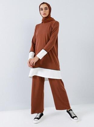 Brown - Cinnamon - Unlined - Cotton - Suit
