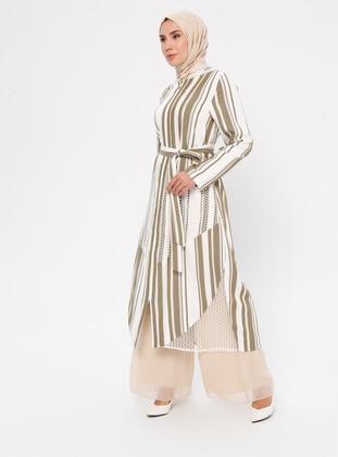 White - Ecru - Khaki - Stripe - Unlined - Abaya