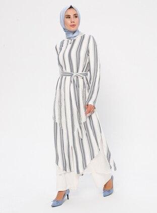White - Ecru - Navy Blue - Stripe - Unlined - Abaya