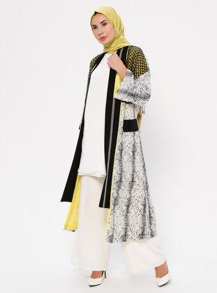 Yellow - Black - Stripe - Unlined - Abaya