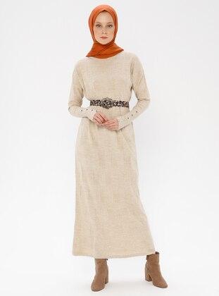 Cream - Crew neck - Acrylic -  - Knitwear