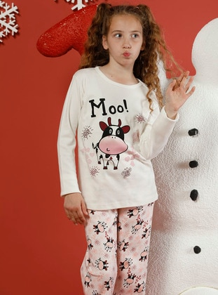 Multi - Crew neck -  - Unlined - White - Powder - Girls` Pyjamas