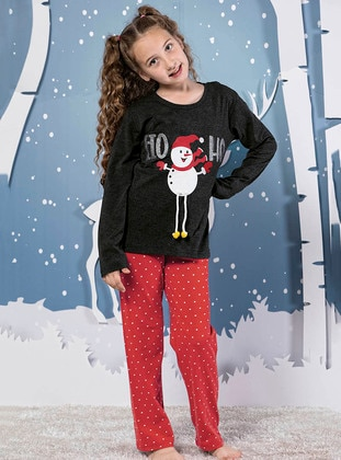 Crew neck -  - Unlined - Red - Black - Girls` Pyjamas