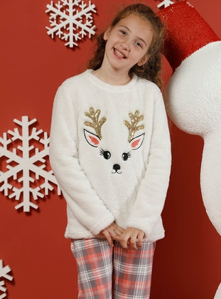 Multi - Crew neck -  - Unlined - White - Multi - Girls` Pyjamas