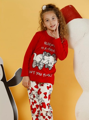 Bowtie - Crew neck -  - Unlined - White - Red - Girls` Pyjamas