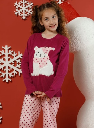 Polka Dot - Crew neck -  - Unlined - Maroon - Pink - Girls` Pyjamas
