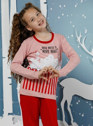 Crew neck -  - Unlined - Red - Powder - Girls` Pyjamas