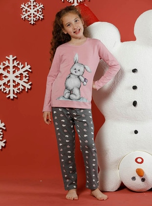 Heart Print - Crew neck -  - Unlined - Gray - Pink - Girls` Pyjamas