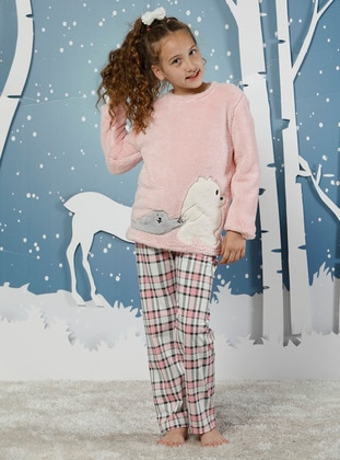 Checkered - Crew neck -  - Unlined - Pink - Powder - Girls` Pyjamas