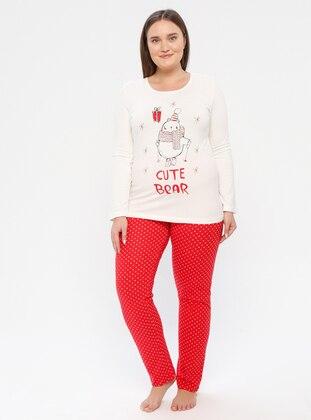 Red - Cream - Crew neck - Polka Dot -  - Pyjama