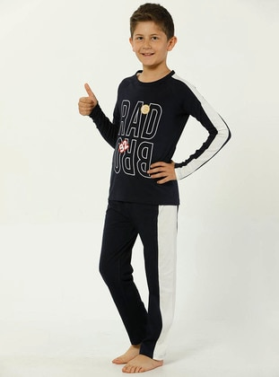 Crew neck -  - Navy Blue - Boys` Pyjamas