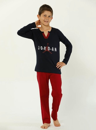 Crew neck -  - Maroon - Boys` Pyjamas