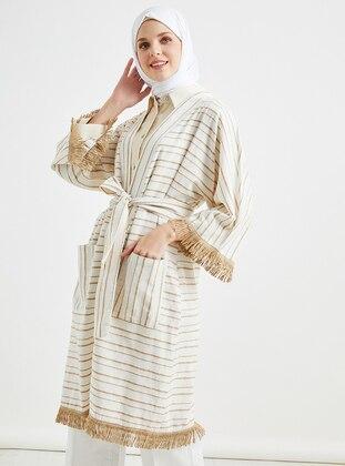 Brown - Stripe - Unlined -  - Abaya