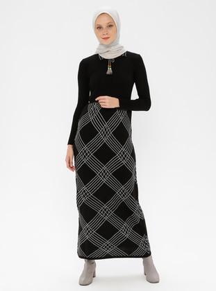 Black - Plaid - Point Collar - Acrylic -  - Knitwear