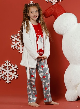 Multi - Crew neck -  - Unlined - Beige - Red - Girls` Pyjamas