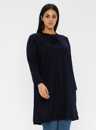 Navy Blue - Crew neck -  - Plus Size Tunic