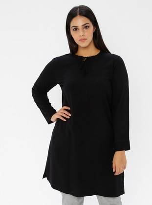 Black - Crew neck -  - Plus Size Tunic