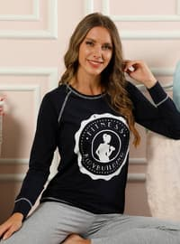 Navy Blue - Crew neck -  - Pyjama