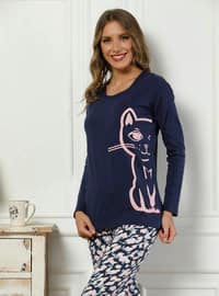 Navy Blue - Crew neck - Multi -  - Pyjama