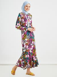 Purple - Green - Multi - Unlined -  - Dress