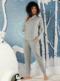 Gray - Polo neck - Acrylic -  - Pyjama