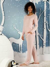 Pink - Crew neck - Acrylic -  - Pyjama