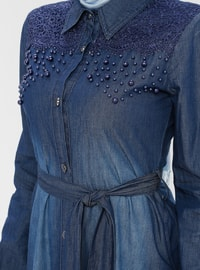 Blue - Unlined - Point Collar - Denim -  - Abaya