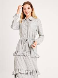 Green Almond - Stripe - Point Collar - Unlined -  - Dress