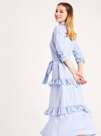 Blue - Stripe - Point Collar - Unlined -  - Dress