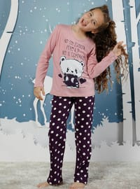 Polka Dot - Crew neck -  - Unlined - Purple - Pink - Girls` Pyjamas