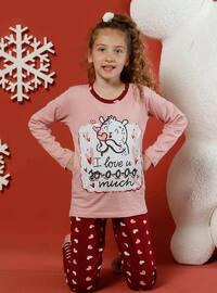 Heart Print - Crew neck -  - Unlined - Red - Powder - Girls` Pyjamas