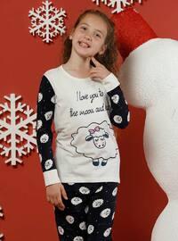 Multi - Crew neck -  - Unlined - White - Black - Girls` Pyjamas