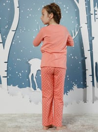 Multi - Crew neck -  - Unlined - Salmon - Girls` Pyjamas
