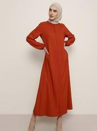 Tuğla - Yuvarlak yakalı - Astarsız kumaş - Elbise