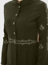 Khaki - Unlined - Crew neck -  - Abaya